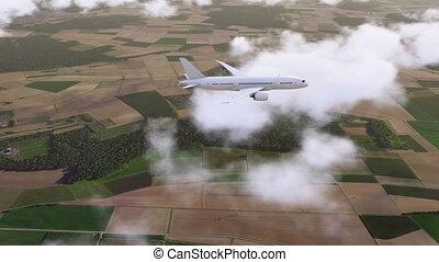 passager, voler, nuages, brandless, avion ligne