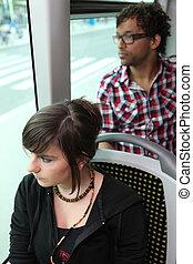 passagers, équitation, autobus