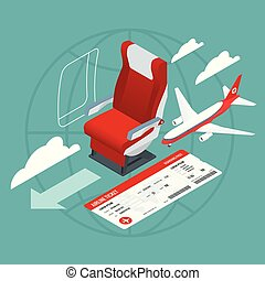 passagers, isométrique, business, vacation., crew., voyage, voyage, avion., ligne aérienne, intérieur, avion, vue