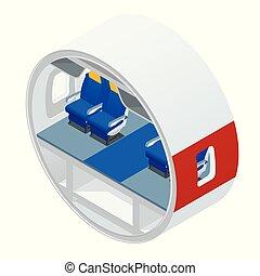 passagers, isométrique, crew., avion., intérieur, avion, vue
