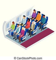 passagers, isométrique, crew., flight., avion., divers, intérieur, avion, vue