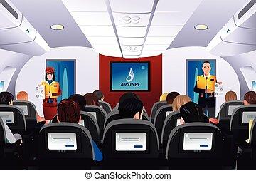 passagers, vol, projection, sécurité, serviteur, procédure