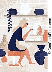 passe-temps, brosse, studio, personne, sourire, ceramist, peinture, vecteur, poterie, pot, apprécier, décorer, usage, plat, fonctionnement, enthousiaste, femme, créatif, illustration., vaisselle, céramique, workshop., fait main, femme