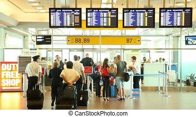 passeport, contrôle, sortie, gens, passe, portes, aéroport, ruzyne