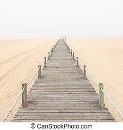 passerelle, bois, portugal., arrière-plan., sable, brumeux, plage