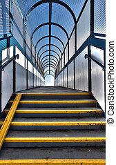 passerelle, escalier, survol, piéton
