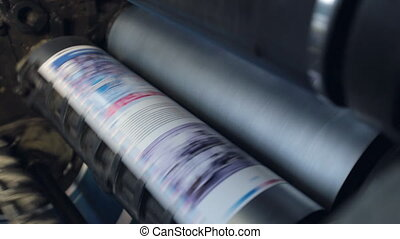 passes, cylindres, machine, impression, par, papier