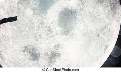 passes, satellite, sci, lune, planète, fi, silhouette