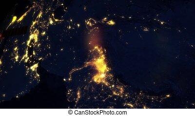passes, satellite, sci, planète, lumières, nuit, la terre, silhouette, fi