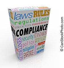 passes, tout, achat, exigences, consommer, règles, sûr, marchandise, produit, apparenté, aimer, règlements, ou, légal, mots, conformité, lois, sécurité, achat, illustrer