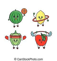 pastèque, sport, citron, pomme, poivre