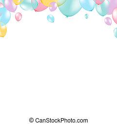 pastel, balloon, cadre