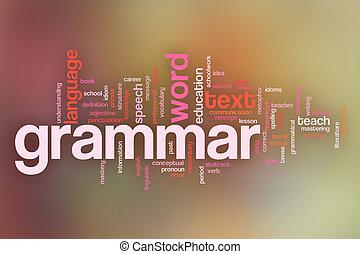 pastel, concept, mot, backgrou, arrière plan flou, grammaire, nuage