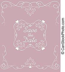 pastel, frame., vendange, mariage, date, sauver, voûte, carte
