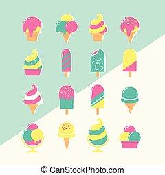 pastel, glace, ensemble, couleurs, icônes