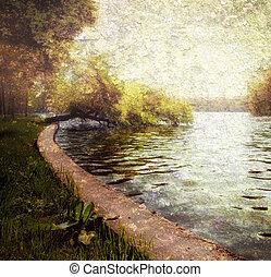 pastel, serein, nature, -, lac, arbres