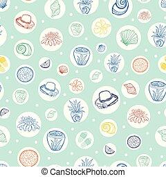 pastel, wallpaper., reprise, cadeau, modèle, exotique, recours, vecteur, vert, textile, circles., suitable, plage, emballer