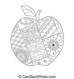 patchwork, pomme, décoré, ton, colori, modèle, délicieux