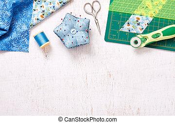 patchwork, sommet, surface, bois, accessoires, blanc, vue