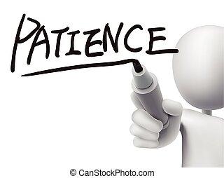 patience, homme, 3d, mot, écrit