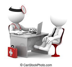 patient, bureau, docteur, monde médical, conversation, consultation.