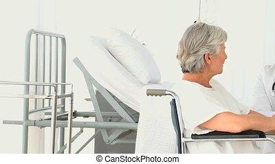 patient, conversation, elle, docteur