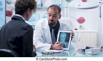 patient, docteur, balayage, moderne, recherche, rayon, facilité, projection, x, pc tablette