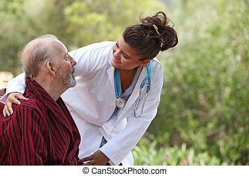 patient, (focus, maison, man), infirmière, soin
