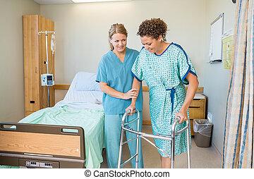 patient, hôpital, promenade, portion, marcheur, utilisation, infirmière