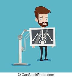 patient, illustration, vecteur, pendant, x, procédure, rayon