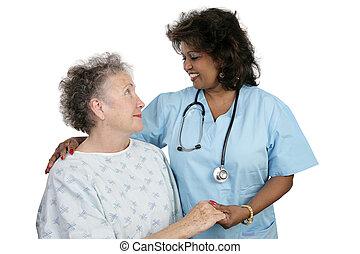 &, patient, infirmière