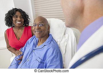 patient, lit hôpital, américain, africaine, homme aîné