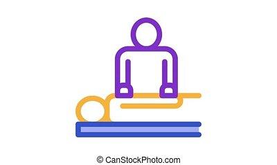patient, masseur, animation, icône, silhouette, orthopédique