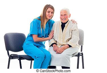 patient, obtenir, enlerly, docteur, ensemble, mieux, heureux