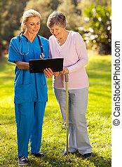 patient, résultats médicaux, infirmière, essai, personne agee, projection