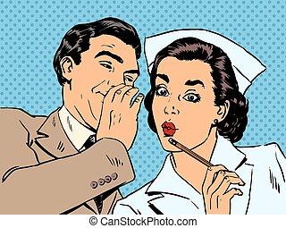 patient, rue, conversation, diagnostic, surprise, commérage, infirmière, mâle