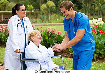 patient, salutation, récupération, docteur