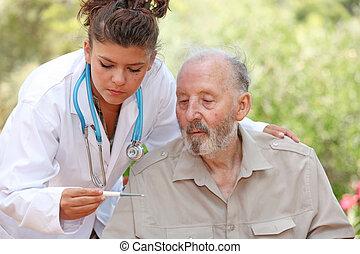 patient, température, docteur, prendre, ou, infirmière, personne agee