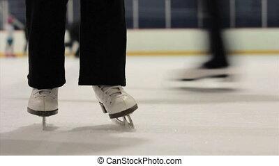 patin, pratique, fille, maman, glace