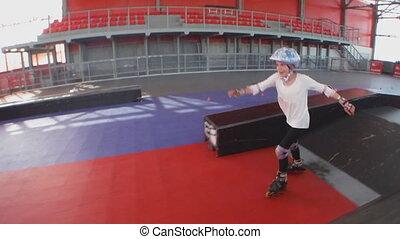 patinage, bas, haut, rouleau, enfant