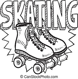 patinage, croquis, rouleau