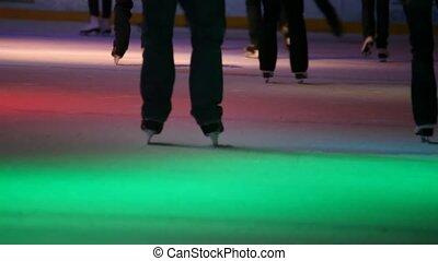patinage, gens ville, décapité, patinoire, illumination