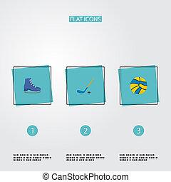patins, symboles, style, hockey, app, autre, crosse, icônes, ensemble, logo, mobile, balle, plat, ton, design., toile, fitness