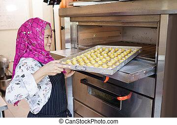 patisserie, boulangerie, business, elle, petit, propriétaire