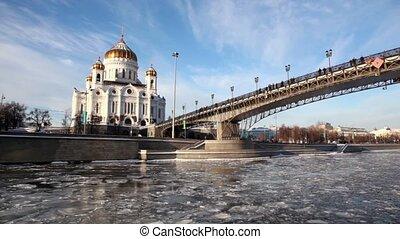 patriarcal, pont, hiver, sauveur, cathédrale, christ