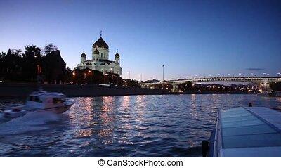 patriarcal, pont, il, christ, surpass, nautisme, rivière, sauveur, cathédrale, bateau, bas, coupeur