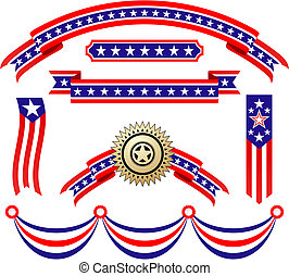 patriotique, américain, rubans