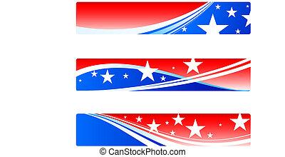 patriotique, bannières, jour, indépendance