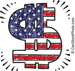 patriotique, croquis, signe dollar