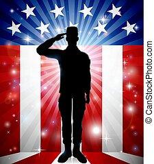 patriotique, saluer, américain, soldat, drapeau